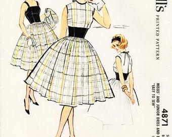SZ 11/Bust 31 1/2 - Vintage 1950s Dress Pattern - McCall's 4871 -  Misses' One-Piece Dress and Bolero