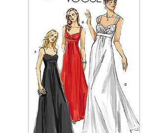 SZ 18/20/22 - Vogue Dress Pattern V8360 - Misses' Sleeveless Empire Fit and Flare Formal Dress in 3 Variations