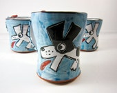 Ceramic Coffee Mug Pottery Border Collie Dog Black and White on Blue Majolica 10 ounces oz