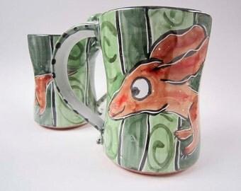 Large Ceramic Coffee Mug - Pottery Mug - Brown Dachshund Wiener Dog - Green - Majolica mug - 22 ounces oz mug - Clay Cup - Doxie Mug