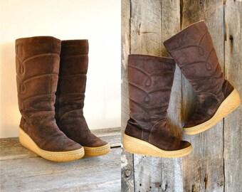 Shearling Boots Sz 8   //  Suede Fur Boots Size 38.5  //  ESKIMO PIE