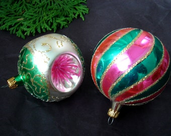 Vintage Glass Christmas Tree Ornaments - Triple Indent Ornament - Pink - Green - Gold - Silver - Mica - made in Colombia - Set of 2