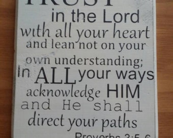 Wooden sign, Proverbs 3,  antique cream and brown, 10 inch by 8 inch, bible verse, inspirational, home decor