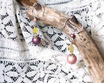 Pink and Purple Miracle Bead Drop Earrings