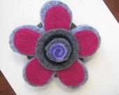 Felt Flower Brooch  Blue  Pink Gray and Purple  Felt Pin