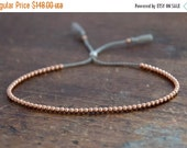 Valentine SALE Solid 14k Rose Gold Beaded Friendship Bracelet, delicate bracelet with dainty beads with silk