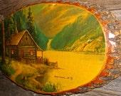 Vintage Crosscut Log Lake Cabin Wilderness Scene / Wood / Cross Cut Tree Bark / Plaque