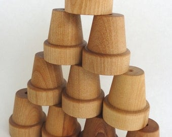 Montessori baby toy, Natural organic baby and toddler stacking toy - set of 10 stacking pots - all natural - eco friendly