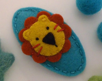 Felt hair clip -No slip -Wool felt -new lion -teal