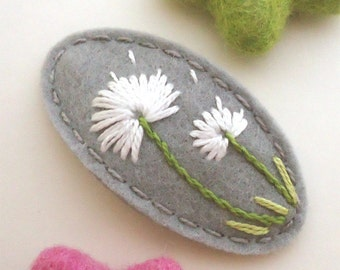 Felt Hair Clip -No Slip -Wool Felt -Dandelion -grey