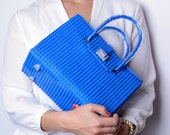 The Brick Bag in blue made entirely of LEGO bricks FREE SHIPPING