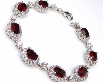 bridesmaid jewelry bracelet bridal wedding christmas party gift swarovski oval siam red crystal rhinestone cubic zirconia rhodium pave