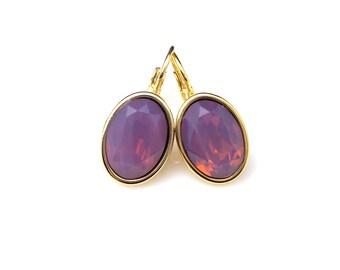 bridal earrings bridesmaid gift wedding jewelry Swarovski cyclamen opal purple crystal oval rhinestone foiled drop gold leverback earrings