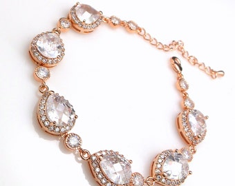 bridal bracelet wedding jewelry bridesmaid gift prom party pageant rose pink gold cubic zirconia teardrop pear bracelet round connectors