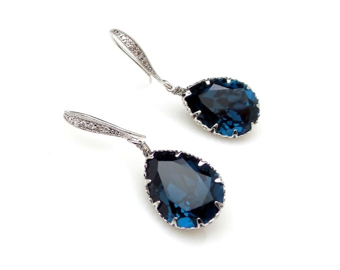 Bridal bridesmaid earrings wedding jewelry gift party prom montana navy blue teardrop swarovski crystals with white gold cubic hook
