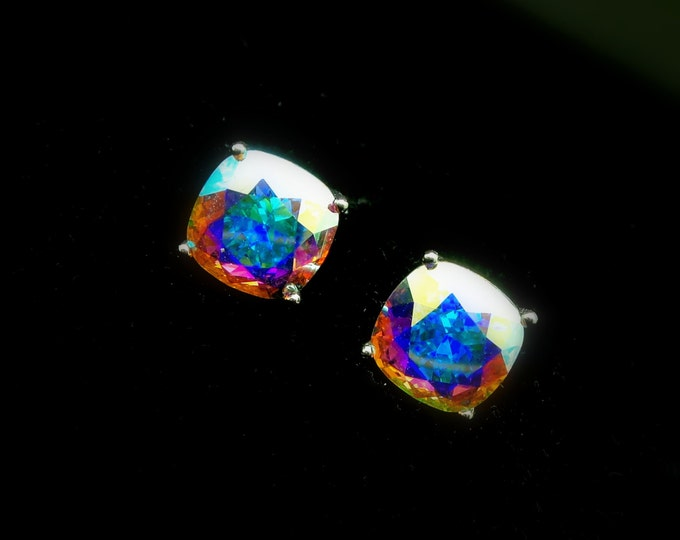 christmas prom party bridal wedding jewelry bridesmaid gift Swarovski crystal ab clear square cushion cut foiled rhinestone stud earrings
