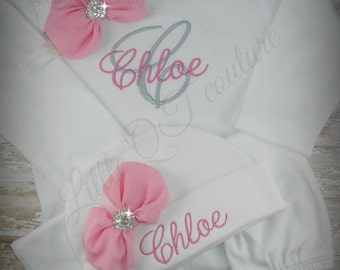 Baby girl coming home outfit, Personalized, baby gown, beanie, hat, embroidered, monogram, hospital gown, take home, set, baby name, initial