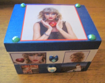 Taylor Swift Hand Crafted Decoupaged Wooden Jewelry Trinket Keepsake Box