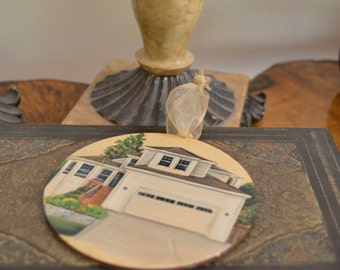 Custom Wood Burned, Hand Painted House Ornament