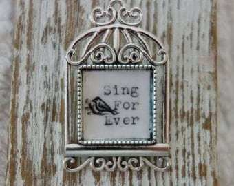 Hand typed hand painted bird cage Brooch sing forever Silver tone Pin Vintage typewriter