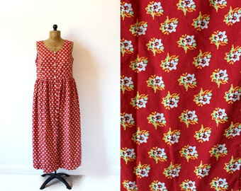 vintage dress 80's laura ashley red floral print sleeveless 1980's women's clothing size l large