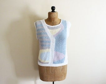 vintage sweater pastel abstract 1980s knit top sleeveless geometric clothing size medium m