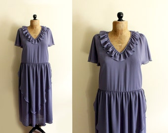 vintage dress 1970s clothing slate grey purple ruffle maxi gown 1930s size medium m 8 10