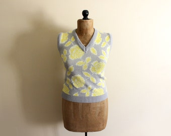 SALE vintage sweater vest 80s grey yellow floral print womens clothing size small s medium m