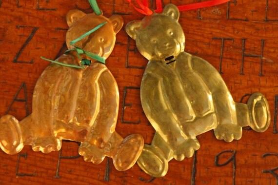Vintage s brass copper teddy bears christmas ornaments