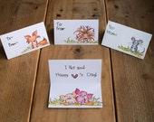 Children's Valentine's Day Cards  - Customized - Custom Name - Kids Valentine Cards - Teacher Card - Cute Woodland Animals