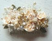 Bridal Hair Comb, Wedding Comb, Decorative Comb, Floral Wedding Comb, Champagne Comb, Peach, Ivory, Swarovski Crystals, Pearls, KathyJohnson