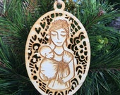 Babywearing Ornament - Christmas Ornament -Wooden Ornaments - Ring Sling - Hair Up