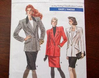 80s vintage Vogue uncut Pattern 7076 -  fitted jacket, shoulder pads, straight skirt, size 12-14-16