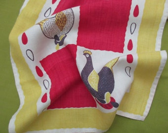 Vintage linen DISH TOWEL - hens, chickens, eggs, red, white, black, gold, 60s