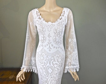 White Lace WEDDING Gown, BOHEMIAN wedding Dress Bell Sleeve Wedding Dress, Hippie BOHO Wedding Dress Handmade One of a kind Sz Small