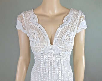 Hippie Boho WEDDING Dress, Crochet Lace Wedding Dress, Simple WEDDING dress, Beach Wedding Dress HANDMADE wedding dress Sz Medium