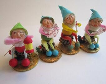 4 vintage spun cotton elves - spun cotton gnomes - older clay faces, JAPAN - spun cotton, bump chenille, pinecones