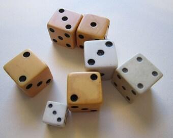 7 vintage dice - assorted - vintage game pieces - reuse