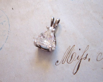 vintage rhinestone pendant - silver with clear triangle stone
