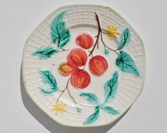 Antique George Schneider Zell Majolica Plate - German, Majolica, Majolica Plates, Fruit, Dinnerware, Display