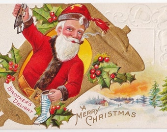 Brother's Delight Antique Christmas Postcard - Christmas Postcards, Christmas, Santa, Santa Postcards, Brother, Bells, Paper, Ephemera