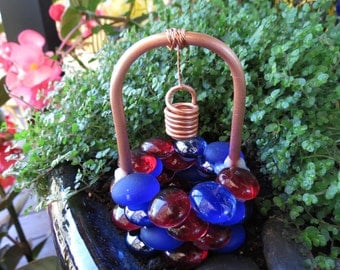 Miniature Garden, Outdoor Fairy Garden, Accessory, Wishing Well, Blueberry Cherry Glass Drops, Copper & Glass Wishing Well