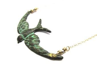 Verdigris Bird in Flight Necklace in Gold