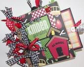 Boy or Girl 8x8 School Premade Kindergarten Scrapbook Paper Bag Album with Journal Tags