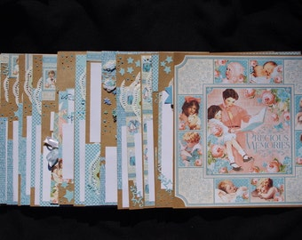 GRAPHIC 45 Baby Boy 20~Premade Scrapbook Layouts, just add photos and album**FREE SHIPPING***