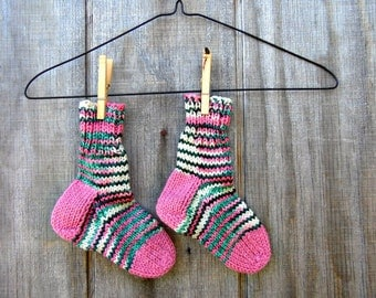 Childrens socks,kids socks,knitted handmade socks,pink,stripes,made in Maine