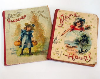 2 x 1900s Children's Books Beautiful Victorian Illustration Cats Dogs Well Loved Perfect Decor Art Supplies