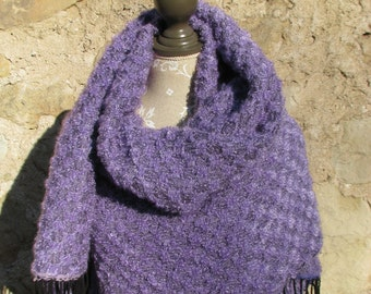 Blanket Scarf, Oversized Shawl, Handwoven Lilac Loop Mohair wool blanket scarf, Overzized Lavander Blanket Scarf, Plaid blanket scarf