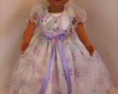 """American Made 18"""" Girl Doll Clothes White with Lavender Pink Turquoise Daisy Princess Girl Doll Dress fits 18"""" Dolls"""