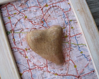 Altered Map Art - Saskatchewan Art with Heart Stone - Mixed Media Collage